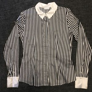 NWOT NY&Co Striped Shirt w Solid Collar & Cuffs